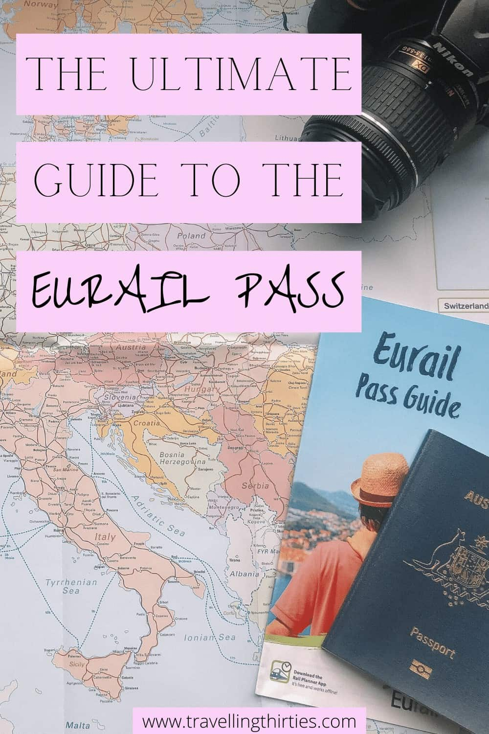 Pinterest Graphic showing the Eurail Pass Guide, Australian Passport and Camera on a Eurail Map