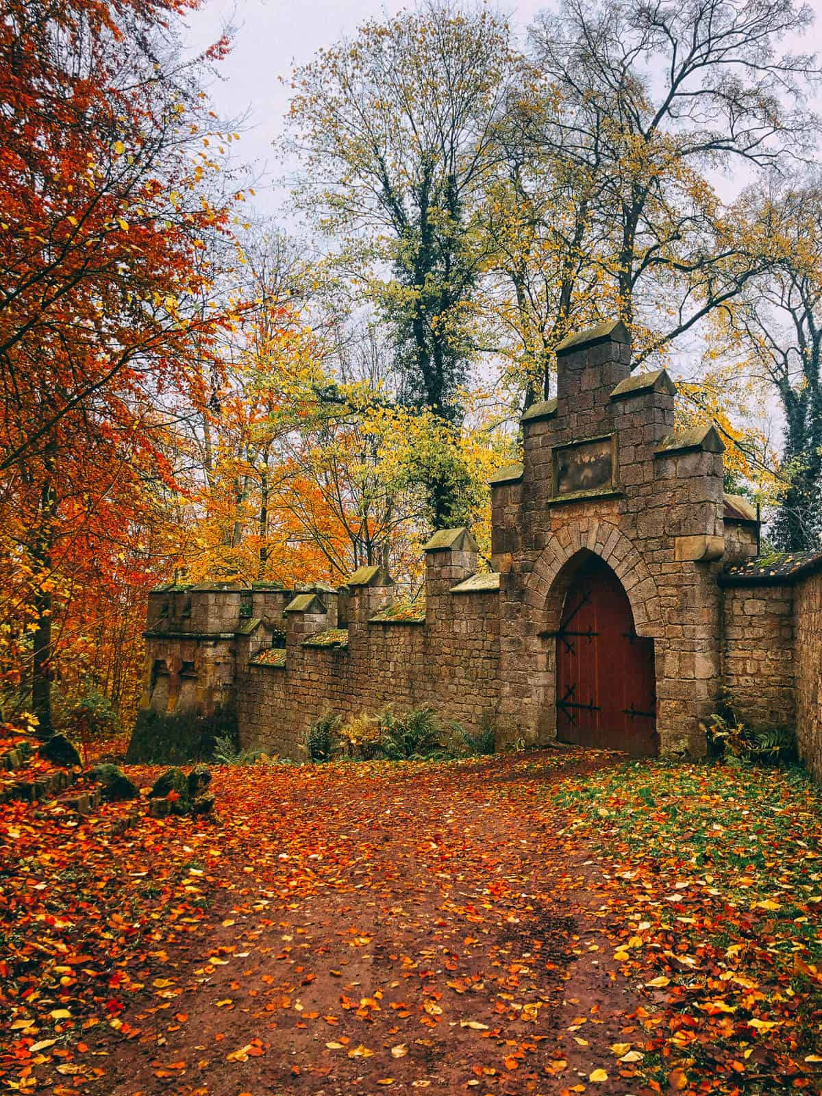 A gate on the side of an old castle surrounded by autumn leaves