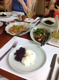 Stir fried beef, Thai omelet and a plate of white and black rice at the Celadon