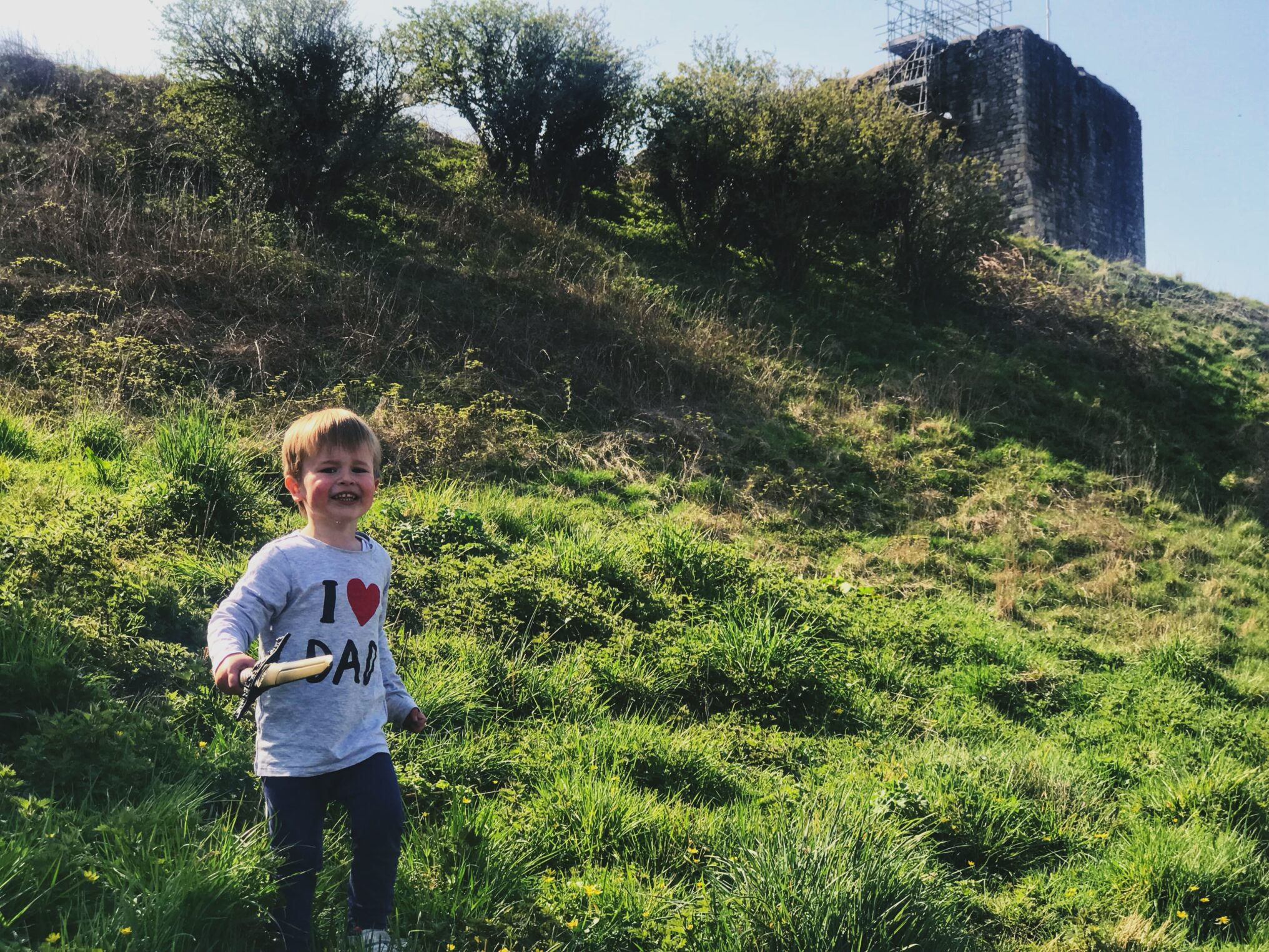 Dexter wearing I heart Dad t-shirt holding a sword on the grass outside Dundonald castle