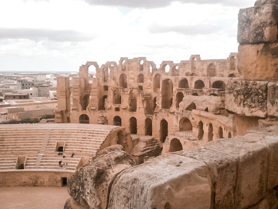 View of El Djem's amphitheatre and the city beyond from the upper levels