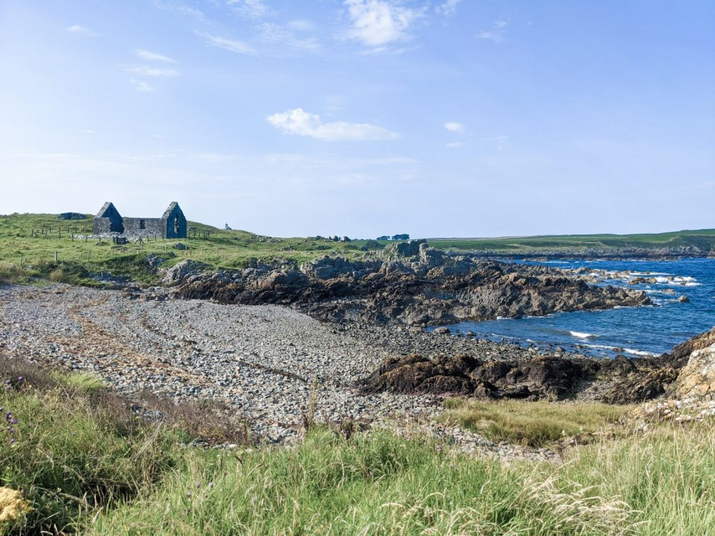 The view from Isle of Whithorn across St Ninian's Chapel and beyond