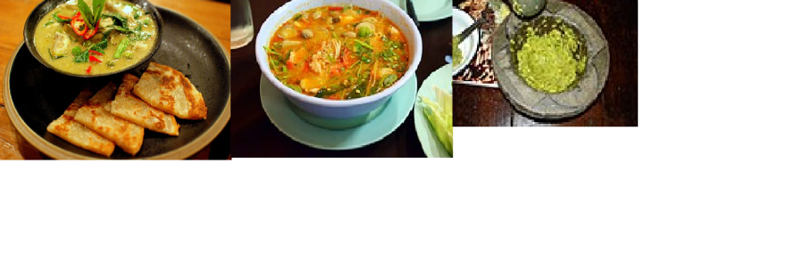 Green Thai curry, Green thai curry paste and Chcicken Tom Yum Soup.