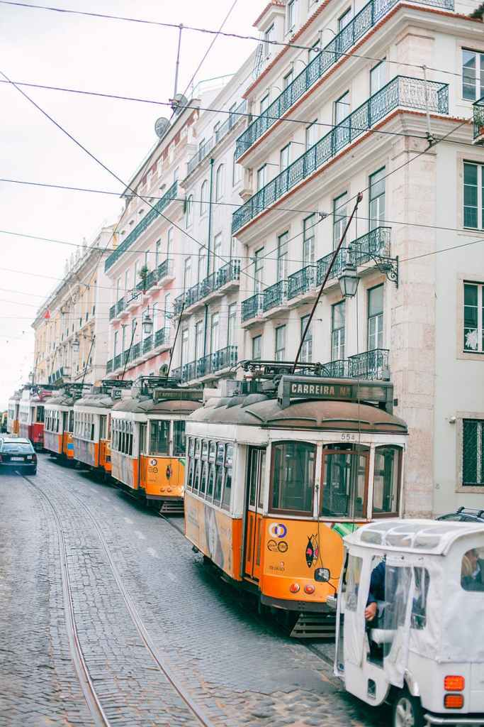 row of trams on city road near multistage buildings