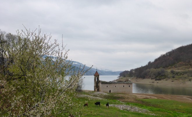 Faboulus old run down church by the lake.