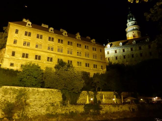 Cesky Krumlov castle by night