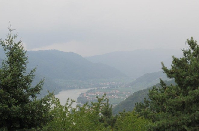 View when driving over the mountain from Weissenkirchen to Krems in Wachau, Austria