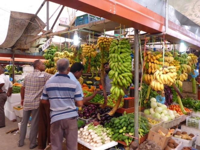 Bananas are a big hit at the fruite and vegetable market in Male.