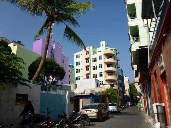 Colourful houses in Male in the Maldives