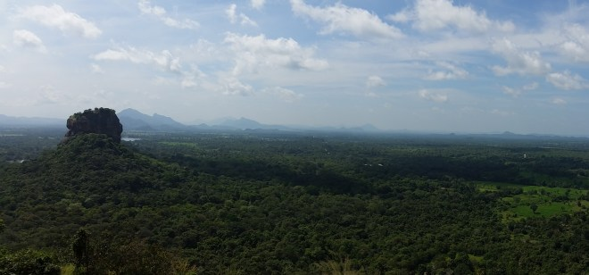 Beautiful view including Sigiriya Rock seen from Pidurangala Rock.