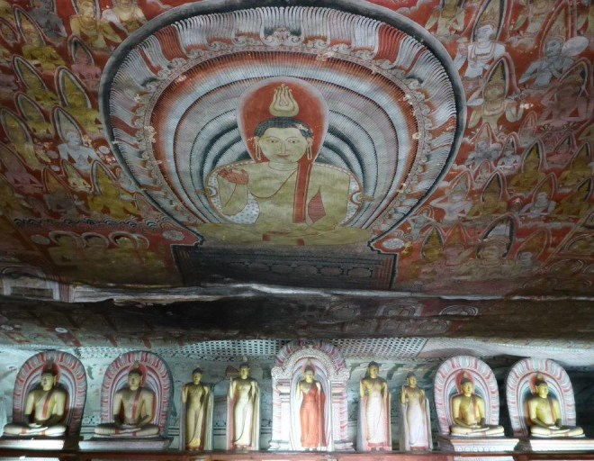 Buddha statues and murals in the Rock Temple of Dambulla 2