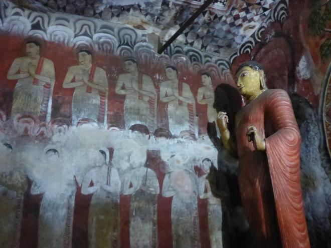 Buddha statues and murals in the Rock Temple of Dambulla