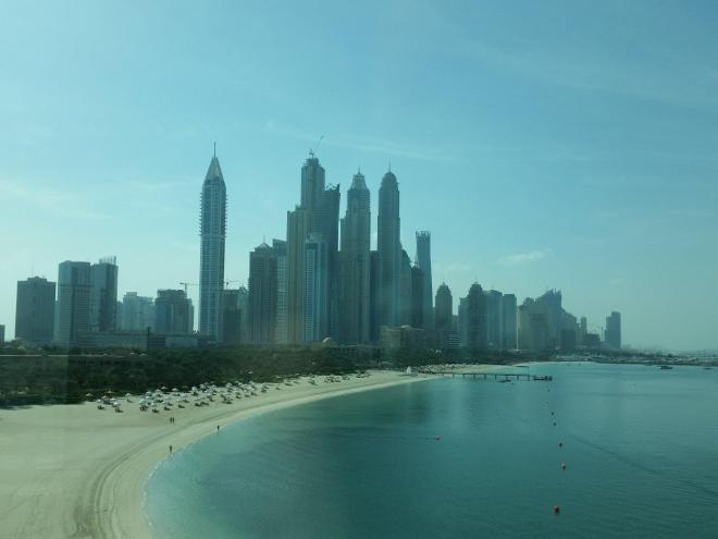 One of the beaches at Palm Jumeirah seen from the monorail