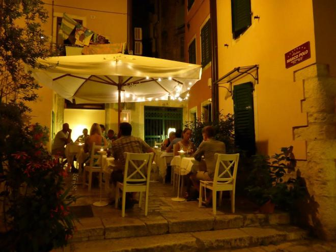 One of many cosy restaurants in the old town of Rovinj, Croatia