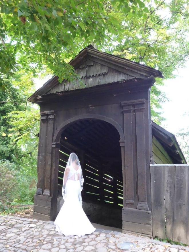 The covered wooden stairs are popular for wedding photos