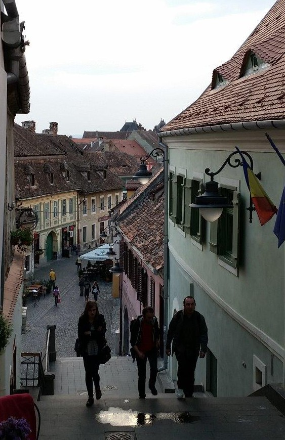 The stairs down to the oldest part of Sibiu, Romania