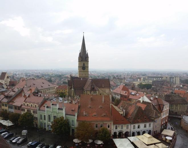 View from the Councils Tower in Sibiu, Romania