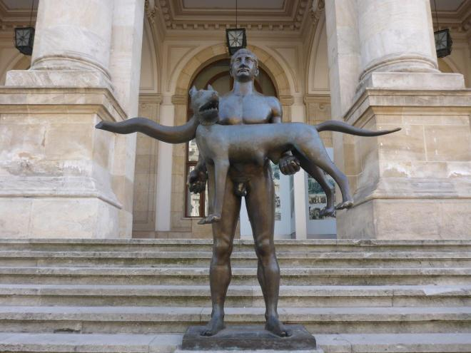 The statue outside the National History Museum in Bucharest, Romania