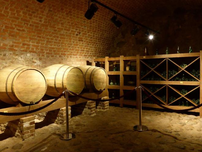 Large barrels for beer in the basement of Mir castle in Belarus