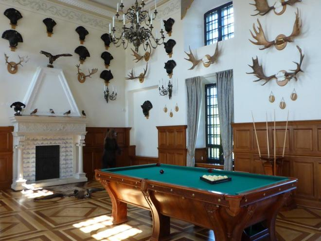 The hunting room in Niasvizh palace in Belarus with the pool table from 1896