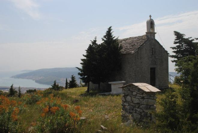 The church on the mountain behind Trogir, Croatia