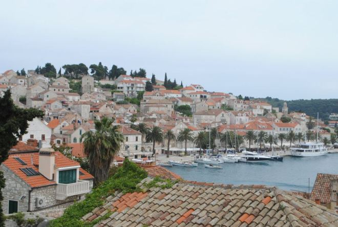 View of the harbor in Hvar town, Hvar island, Croatia