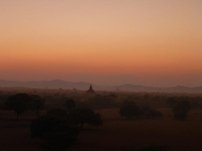 Sunset by Pyathada pagoda. Bagan, Myanmar