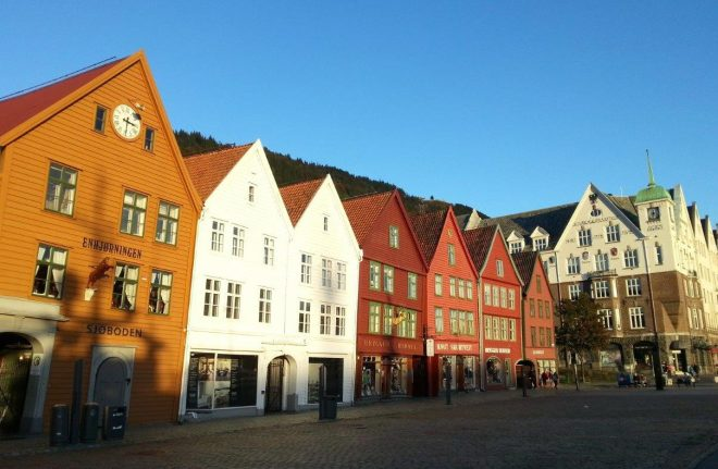 Bryggen in Bergen a beautiful autumn day! Norway
