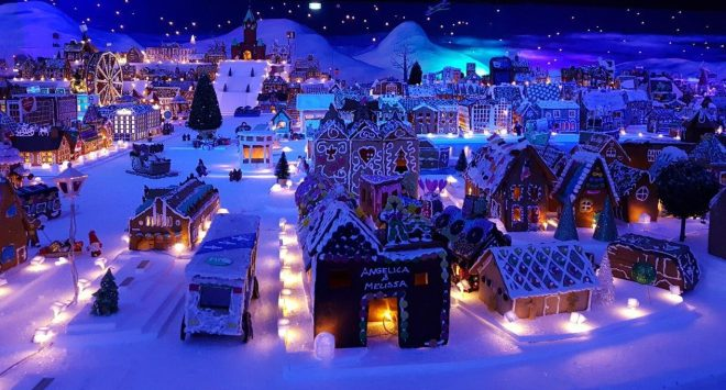 The worlds largest Gingerbread Town in Bergen, Norway