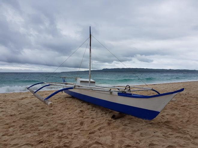 Banka boat at Puka beach, Boracay Island, The Philippines