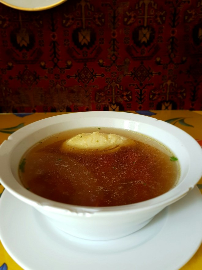 Broth soup. Taste Hungary food tour. Budapest, Hungary.