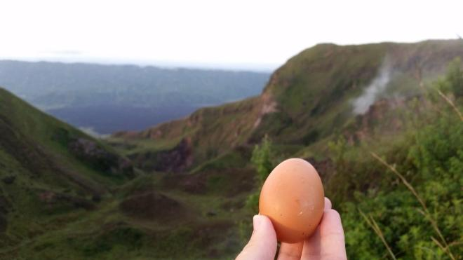 Egg cooked by volcano steam. Batur Volcano. Bali, Indonesia.