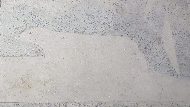A polar bear engraved in the floor. Pyramiden. Svalbard. Spitsbergen. Norway
