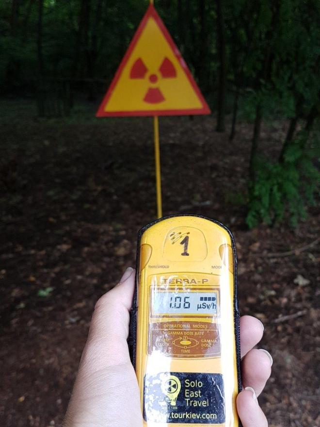 Prepared with Geiger counter to check radiation. Kopachi village. Chernobyl, Ukraine.