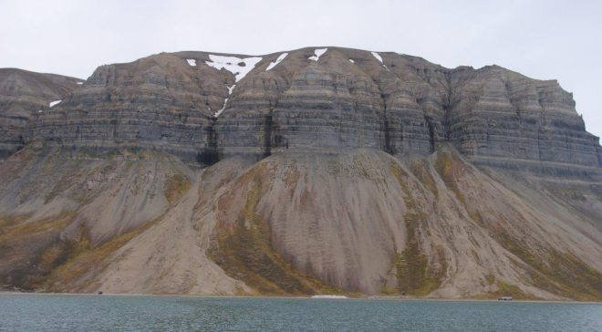 Skansbukta, a bay in the outer part of Billefjorden. Svalbard. Spitsbergen. Norway