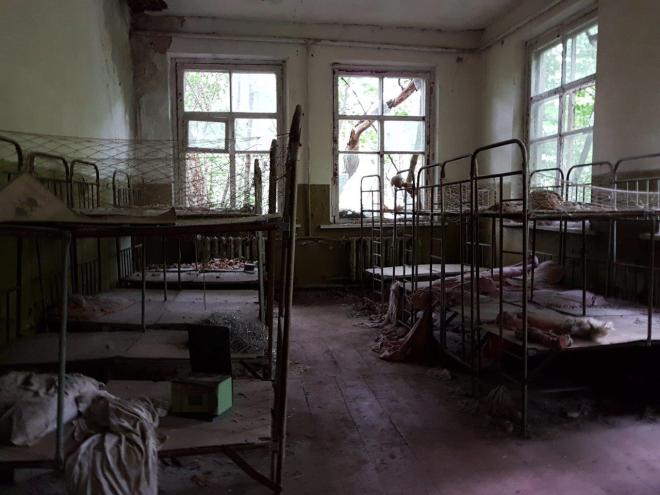 The abandoned kindergarten in Kopachi village. Chernobyl, Ukraine.