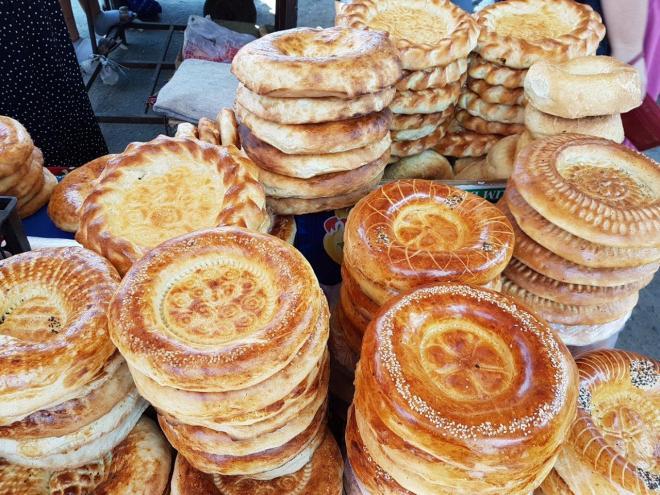 Lepeshka - traditional bread. Osh Bazaar. Food tour in Bishkek, Kyrgyzstan