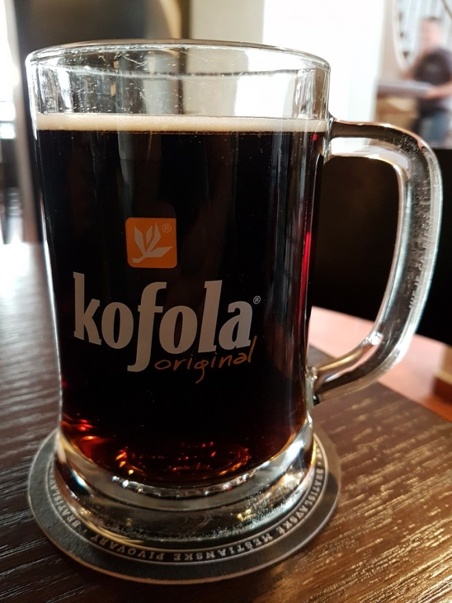 Kofola, the local version of cola. Food tour in Bratislava, Slovakia.