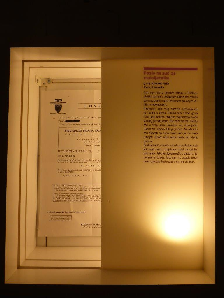 The police report after a rape at a summer camp. One of the items at the Museum of Broken Relationships. Zagreb, Croatia.