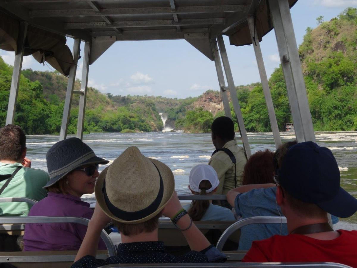 Getting closer to the falls at Murchison Falls National Park in Uganda Africa