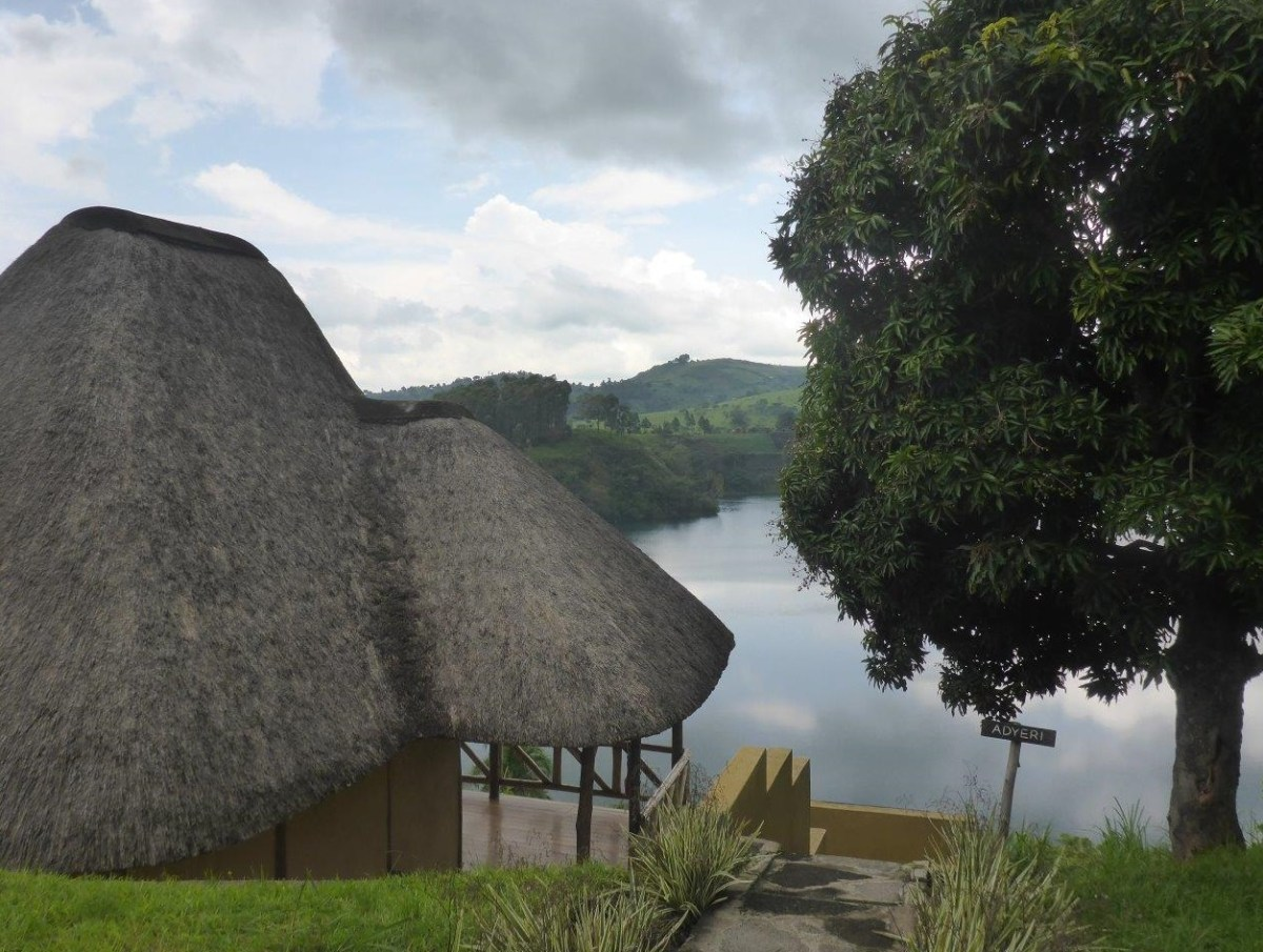 Our hut with beautiful lake view at Crater Safari Lodge by Kibale Forest National Park, Uganda.