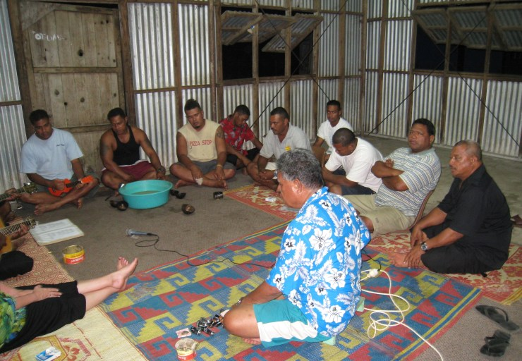 Trying to get the tape recorder working at the Kava Ceremony