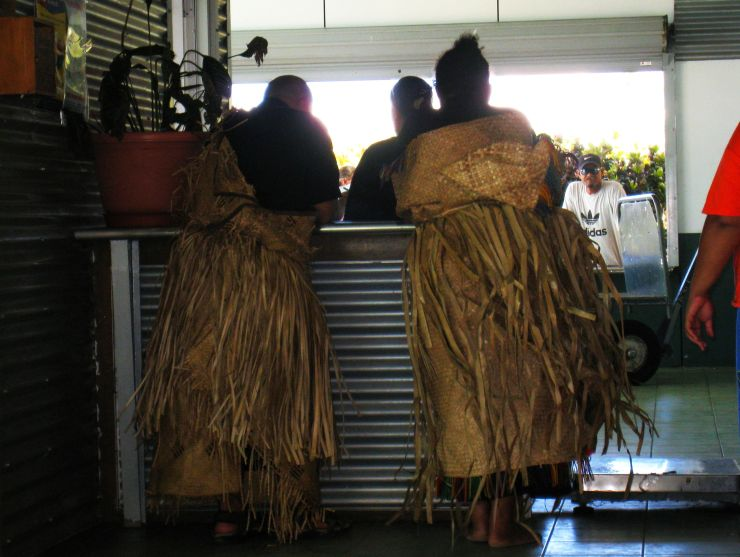 Tongan Man and Woman in Ceremonial Dress