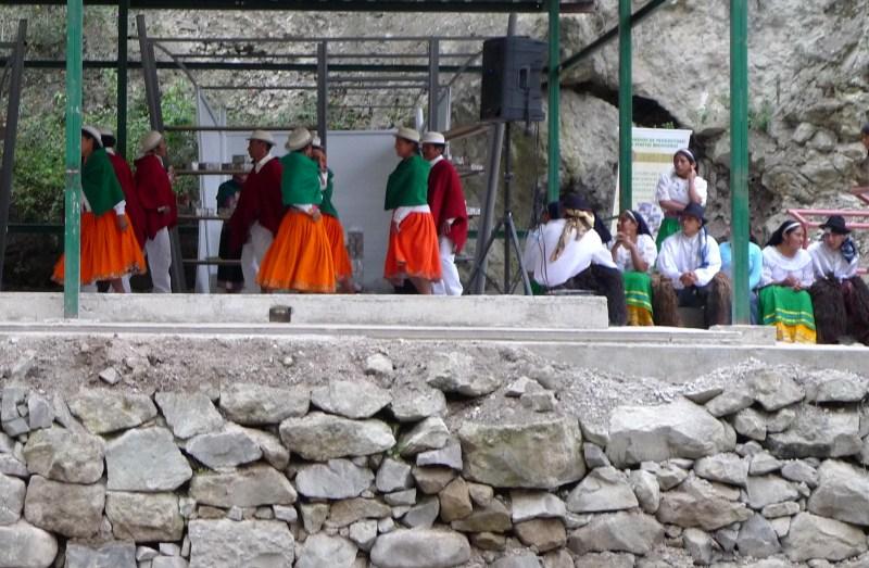 P1030668 Traditional Ecuadorian Dance Performance at a tiny station halfway down