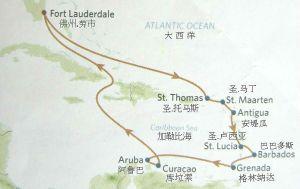 加勒比海南线八岛游路线图