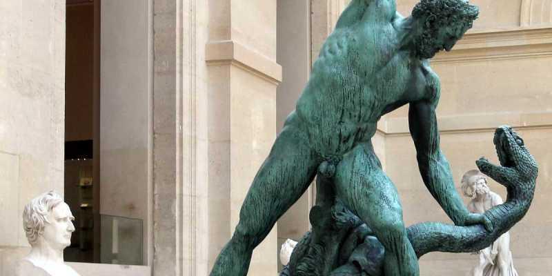 Hercule combattant Achéloüs, métamorphosé en serpent, by François Joseph, Baron Bosio, Cour Puget, Louvre, Paris