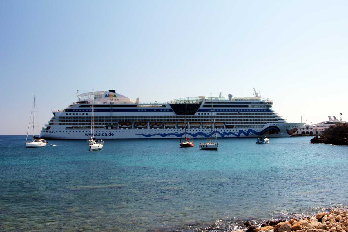 Aida Cruise Ship Embarks in Rhodes