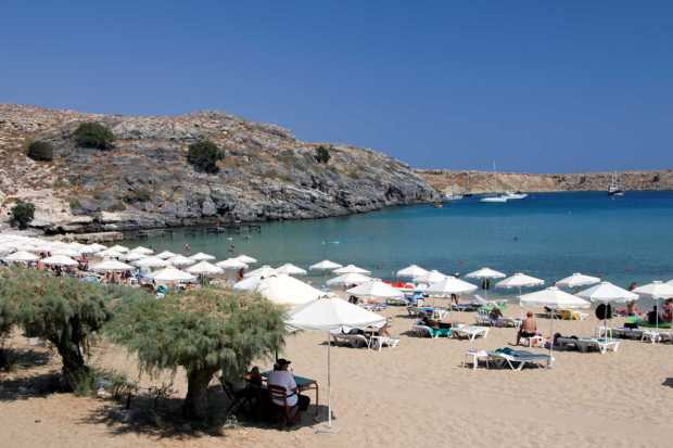 Lindos beach, Rhodes, Greece