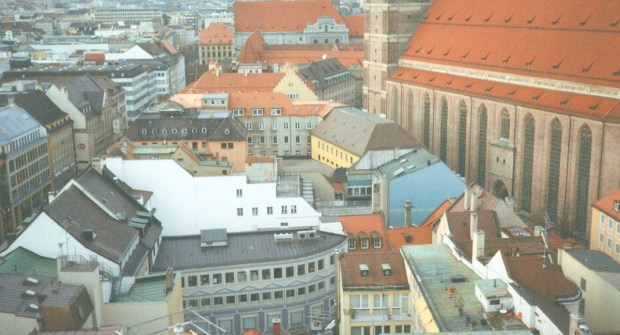 Frauenkirche viewed from nearby New Town Hall, Munich, Bavaria, Germany