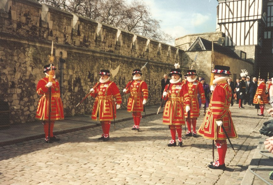 Queen Elizabeth II opens the current display of the Crown Jewels at the Tower of London in 1994